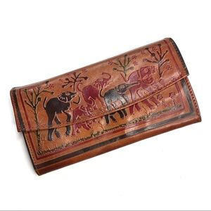 Handbags - Handtooled Leather Wallet with Painted Elephants